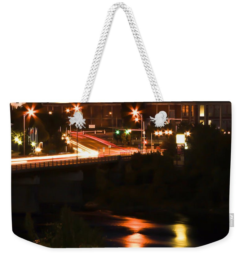 Lewiston Weekender Tote Bag featuring the photograph After Dark by Brenda Giasson