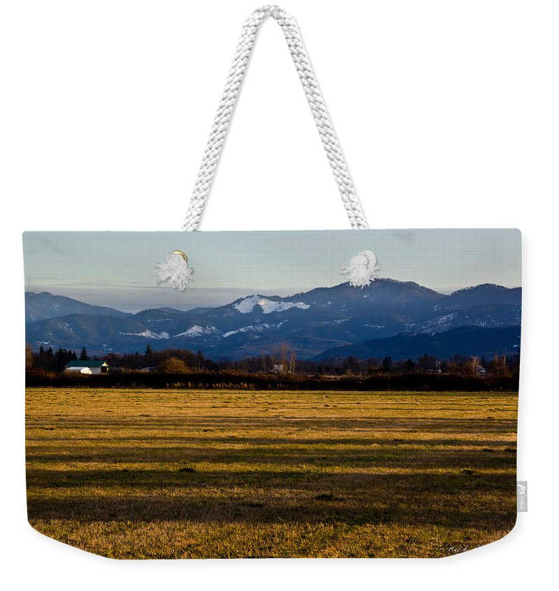 Farm Weekender Tote Bag featuring the photograph Afternoon Shadows Across A Rogue Valley Farm by Mick Anderson