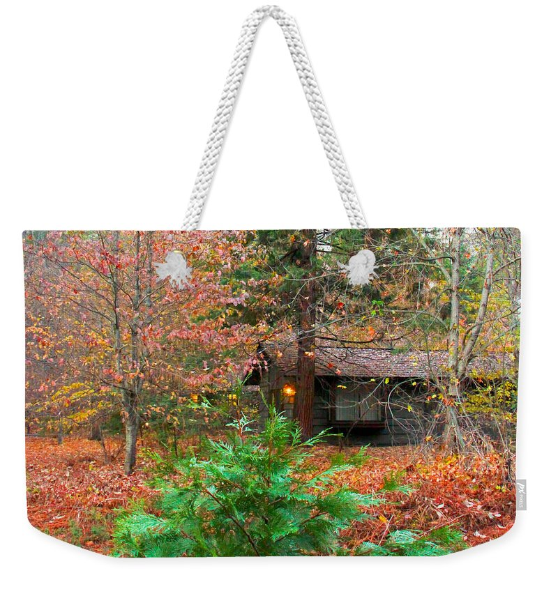 Yosemite National Park Weekender Tote Bag featuring the photograph Ahwahnee Cabin Light by Heidi Smith
