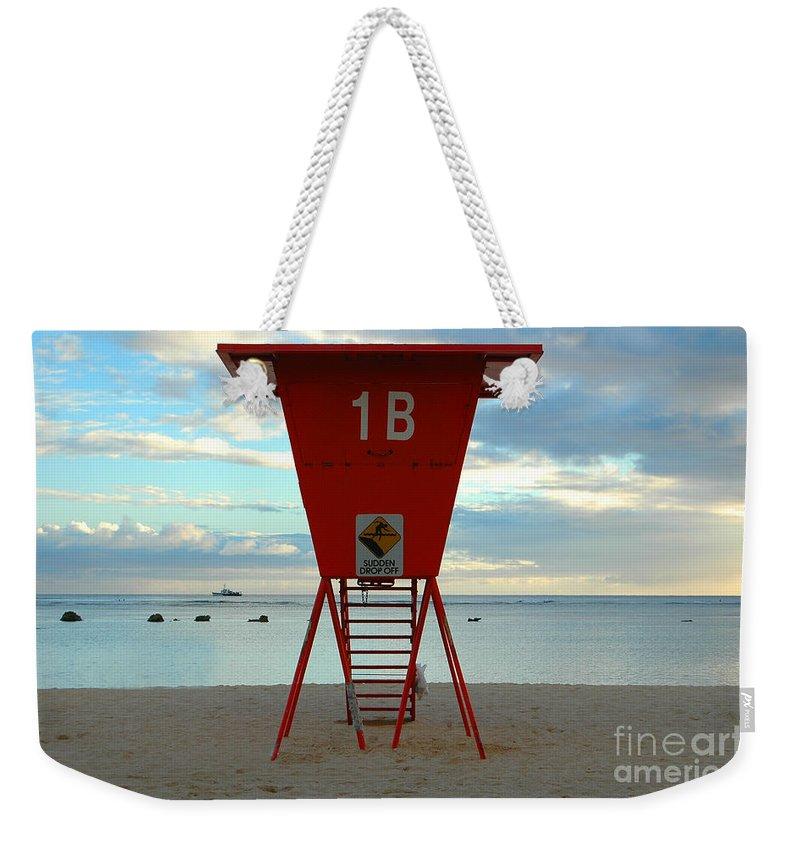 Hawaii Weekender Tote Bag featuring the photograph Ala Moana Lifeguard Station by Mark Gilman