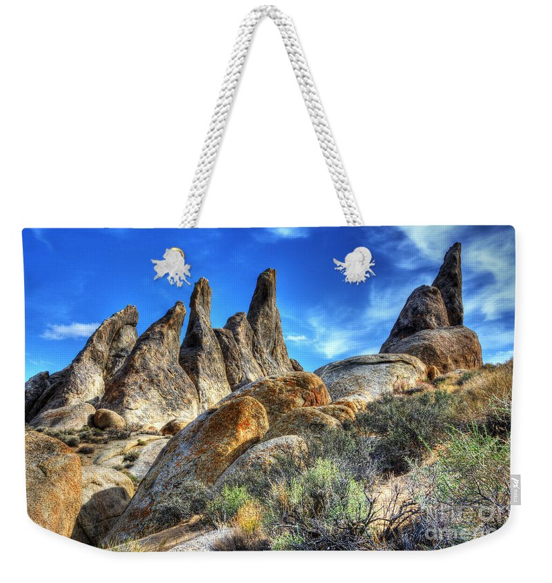 Alabama Hills Weekender Tote Bag featuring the photograph Alabama Hills Granite Fingers by Bob Christopher