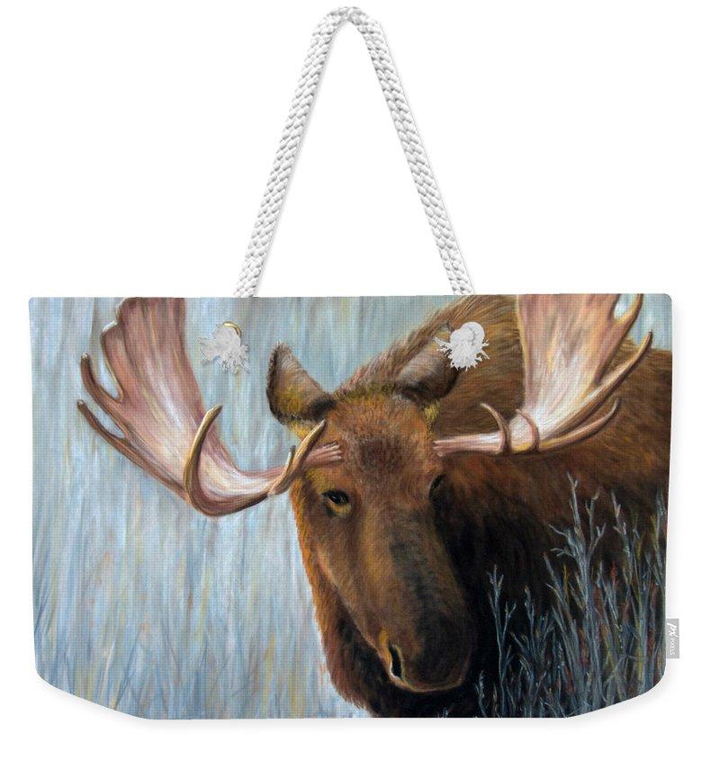 Moose Weekender Tote Bag featuring the painting Alaskan Bull Moose by Dee Carpenter