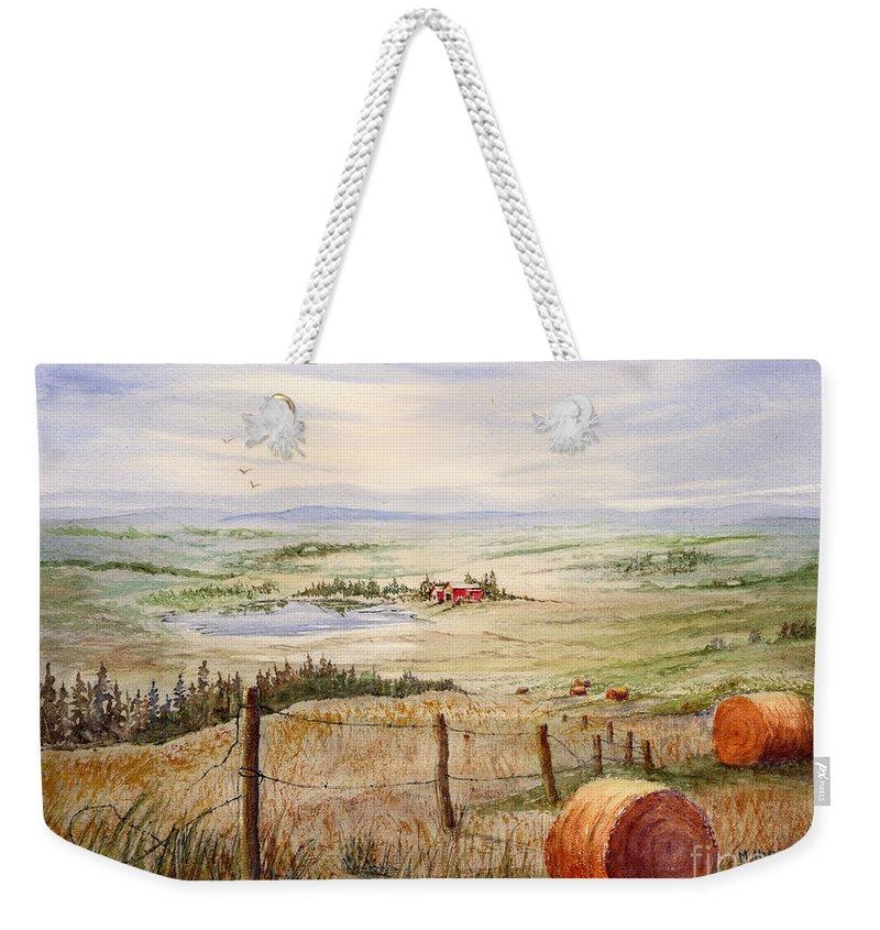 Weekender Tote Bag featuring the painting Alberta Foothills by Mohamed Hirji