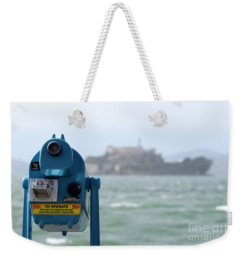 san Francisco Weekender Tote Bag featuring the photograph Alcatraz View by Henrik Lehnerer