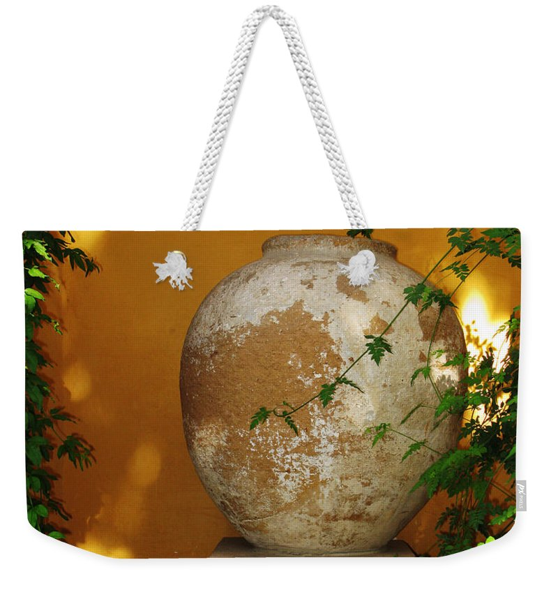 Alcazar Weekender Tote Bag featuring the photograph Alcazar Urn by Greg Matchick