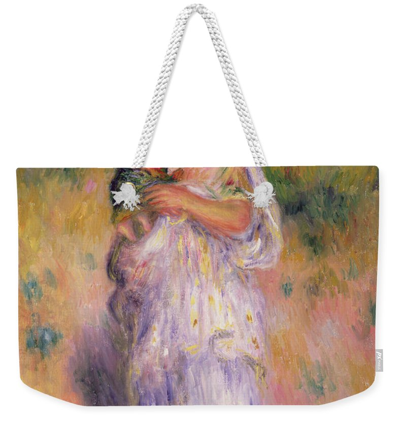 Algerian Weekender Tote Bag featuring the painting Algerian Woman And Child by Pierre Auguste Renoir