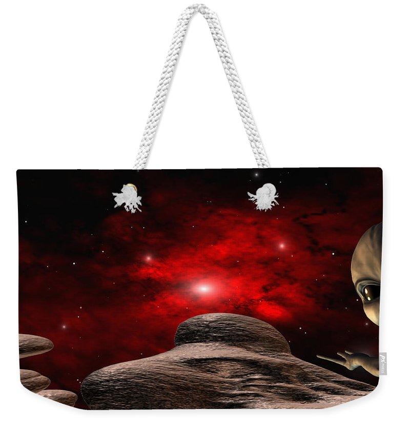 Space Weekender Tote Bag featuring the digital art Alien Planet by Robert aka Bobby Ray Howle