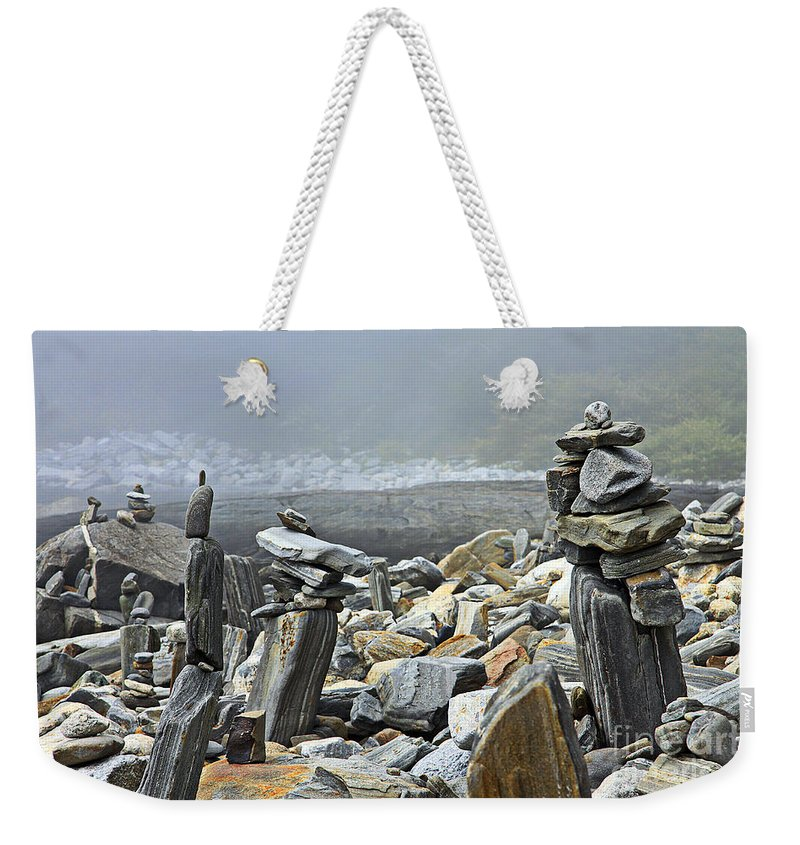 Ocean.stacking Rocks Weekender Tote Bag featuring the photograph All About Balance by Brenda Giasson
