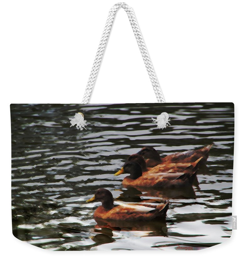 Birds Weekender Tote Bag featuring the photograph All In A Row by Ericamaxine Price