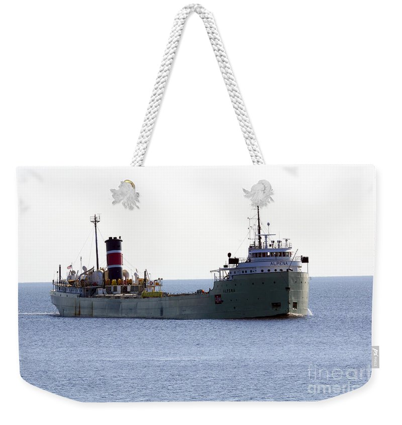 Ship Weekender Tote Bag featuring the photograph Alpena Ship by Lori Tordsen