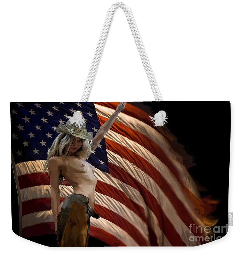 Nude Weekender Tote Bag featuring the painting American Cowgirl by Thomas Oliver