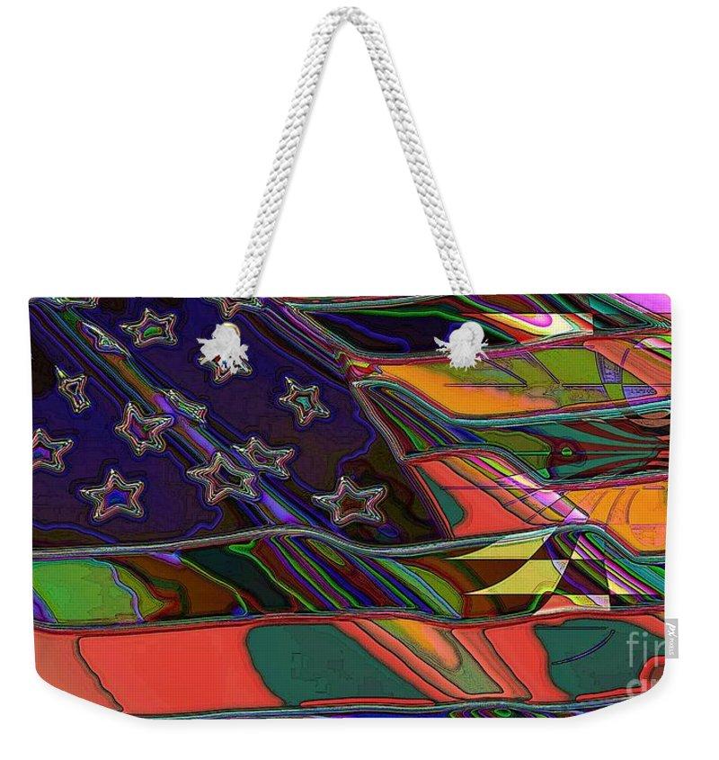 Flag Weekender Tote Bag featuring the digital art American Flag 1 by Ron Bissett