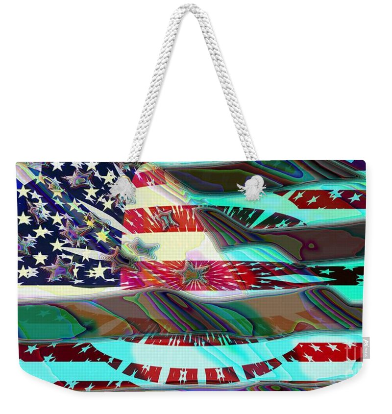 Flag Weekender Tote Bag featuring the digital art American Flag 2 by Ron Bissett