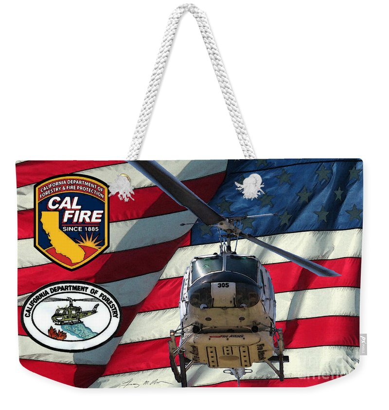 Firefighting Weekender Tote Bag featuring the digital art American Hero 1 by Tommy Anderson