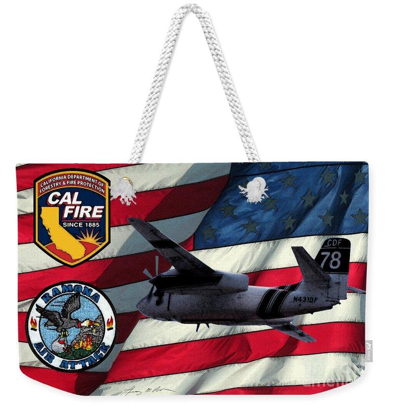 Firefighing Weekender Tote Bag featuring the digital art American Hero 2 by Tommy Anderson