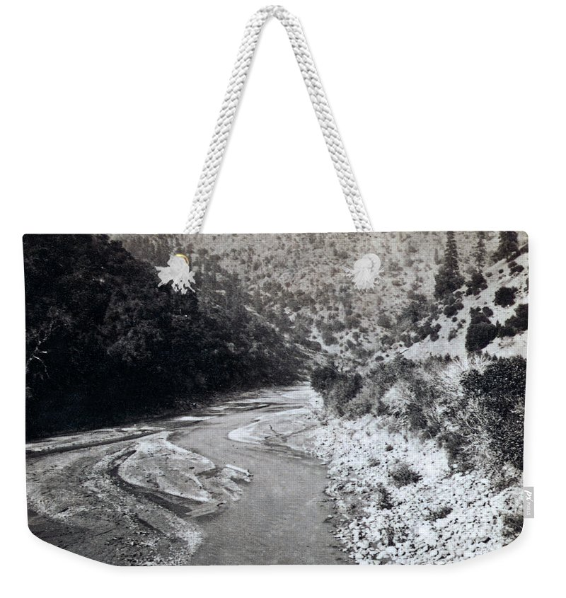 american River Weekender Tote Bag featuring the photograph American River Below Cape Horn California - C 1900 by International Images