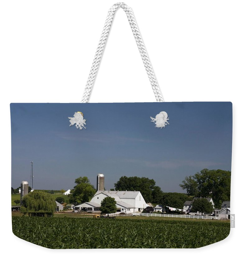 Amish Farm Weekender Tote Bag featuring the photograph Amish Farm by Sally Weigand