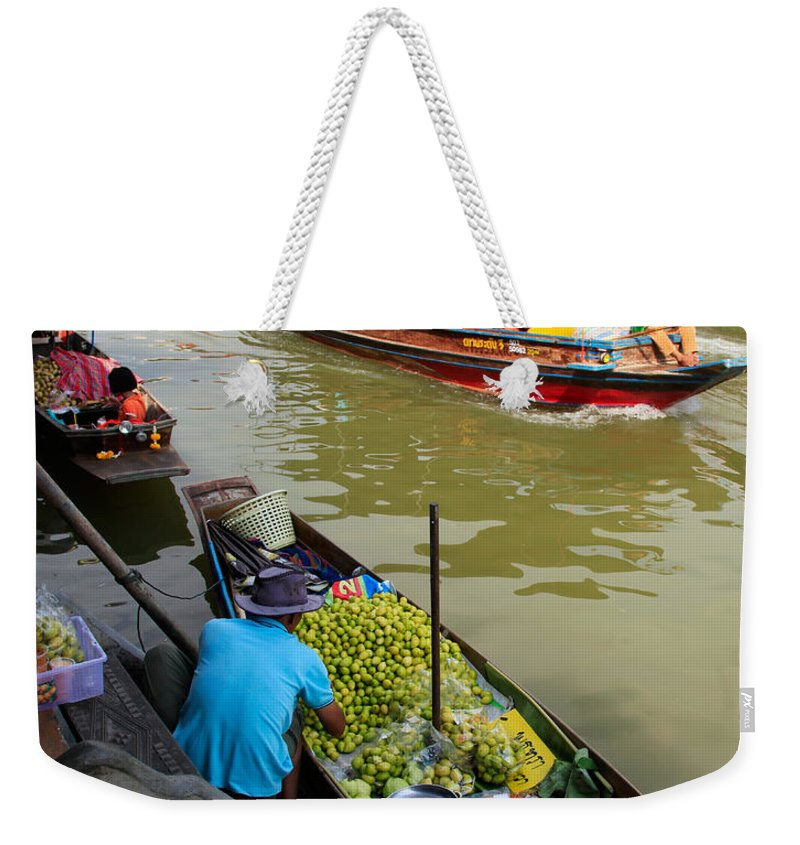 Amphawa Weekender Tote Bag featuring the photograph Ampawa Floating Market by Adrian Evans