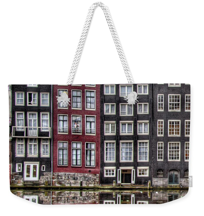 Amsterdam Weekender Tote Bag featuring the photograph Amsterdam Reflections Hdr by Bill Lindsay