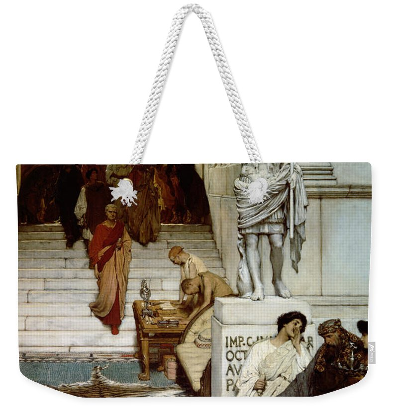 Audience Weekender Tote Bag featuring the painting An Audience At Agrippa's by Sir Lawrence Alma-Tadema