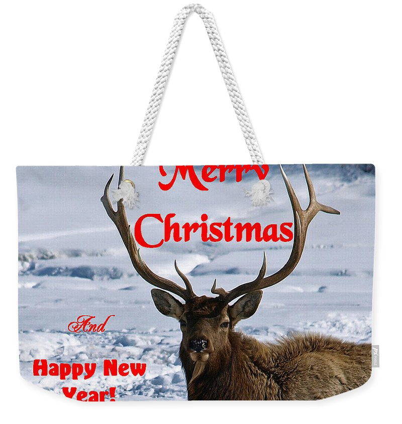 Christmas Cards Weekender Tote Bag featuring the photograph An Elk Christmas by DeeLon Merritt