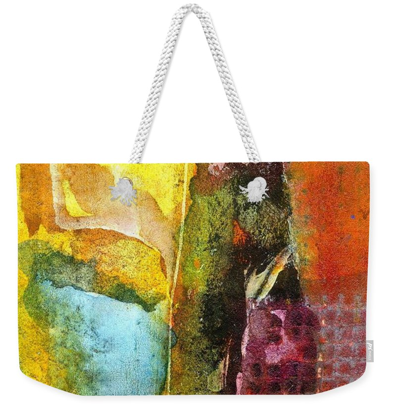 Acrylic Weekender Tote Bag featuring the painting An Extra Helping Of Lemon Please by Angela L Walker