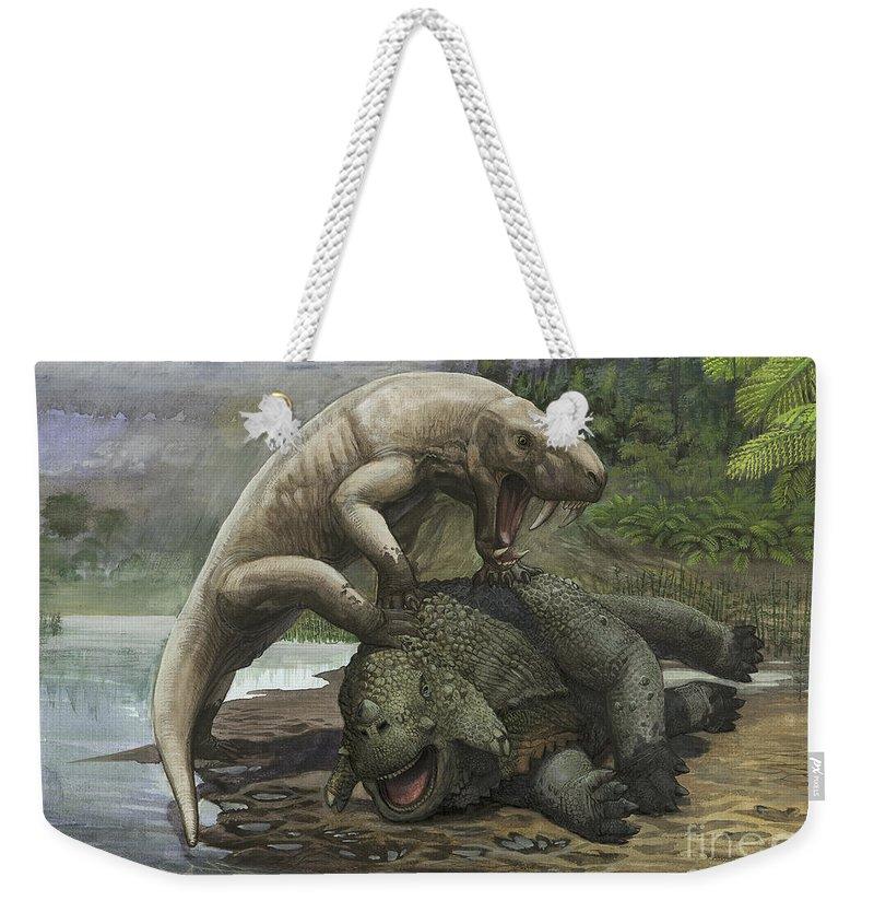 Horizontal Weekender Tote Bag featuring the digital art An Inostrancevia Attacks A Scutosaurus by Sergey Krasovskiy