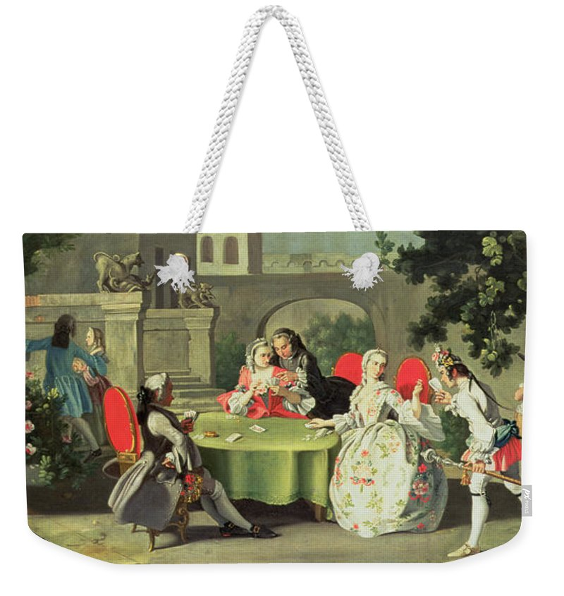 Terrace; Frock Coat; Messenger ;couple; Fig; Neopolitan Weekender Tote Bag featuring the painting An Ornamental Garden With Elegant Figures Seated Around A Card Table by Filippo Falciatore
