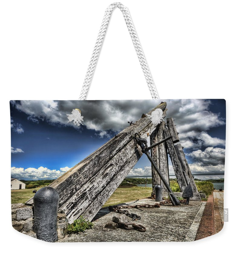Anchor Sculpture Weekender Tote Bag featuring the photograph Anchor Sculpture Neyland by Steve Purnell