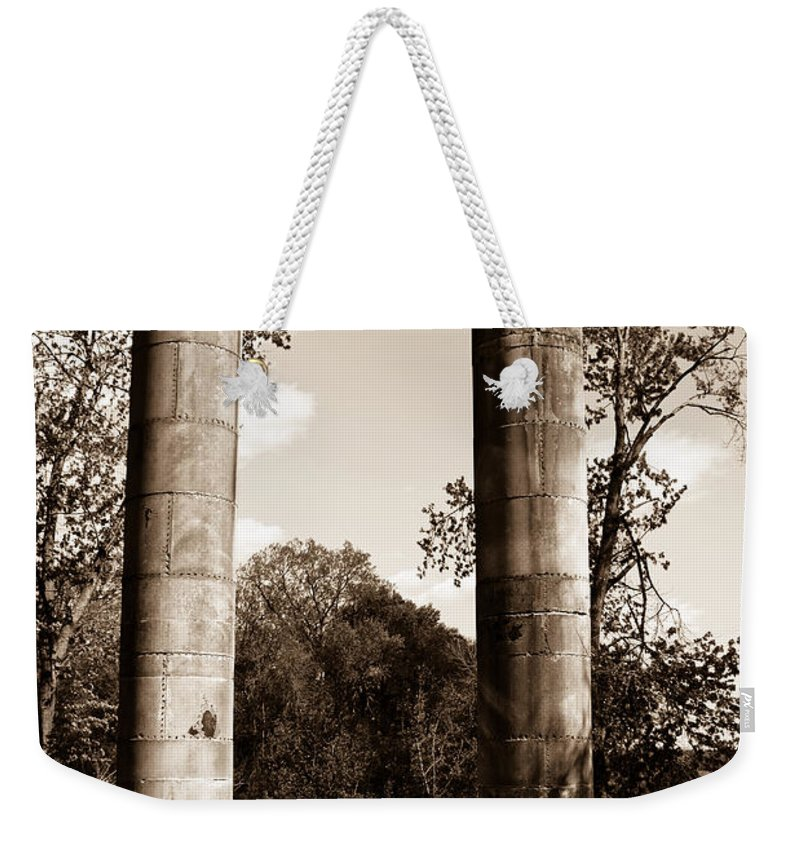 Ancient Weekender Tote Bag featuring the photograph Ancient Columns By The River by Douglas Barnett