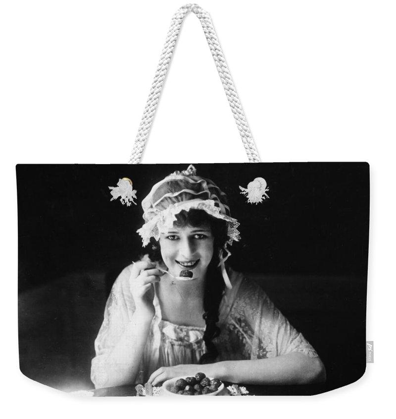 -eating & Drinking- Weekender Tote Bag featuring the photograph Anita Stewart (1895-1961) by Granger