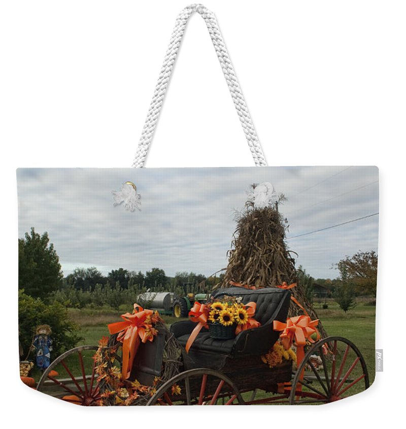 Antique Weekender Tote Bag featuring the photograph Antique Buggy In Fall Colors by Kathy Clark
