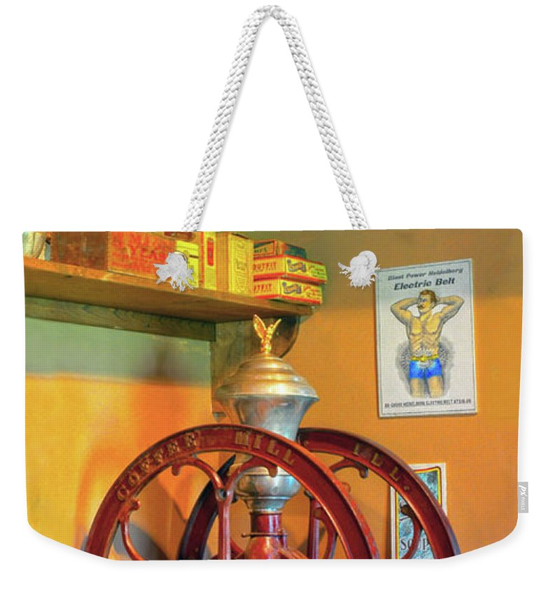 Coffee Mill Weekender Tote Bag featuring the photograph Antique Coffee Mill by Dave Mills