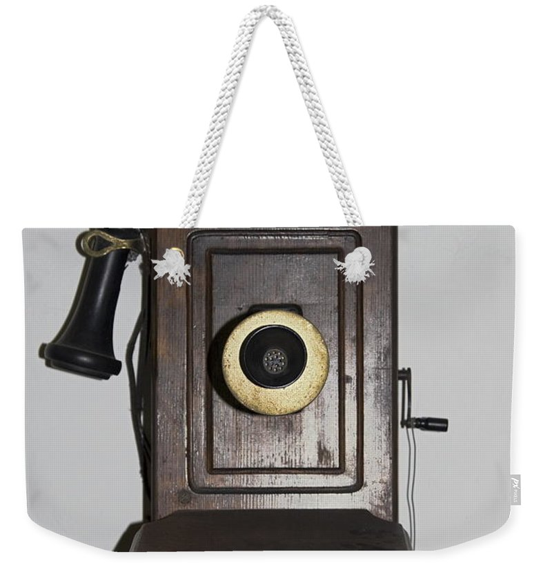 Antique Telephone Weekender Tote Bag featuring the photograph Antique Telephone by Sally Weigand