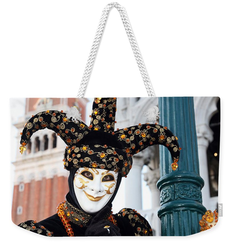 Venice Weekender Tote Bag featuring the photograph Antonio Below The Tower by Donna Corless