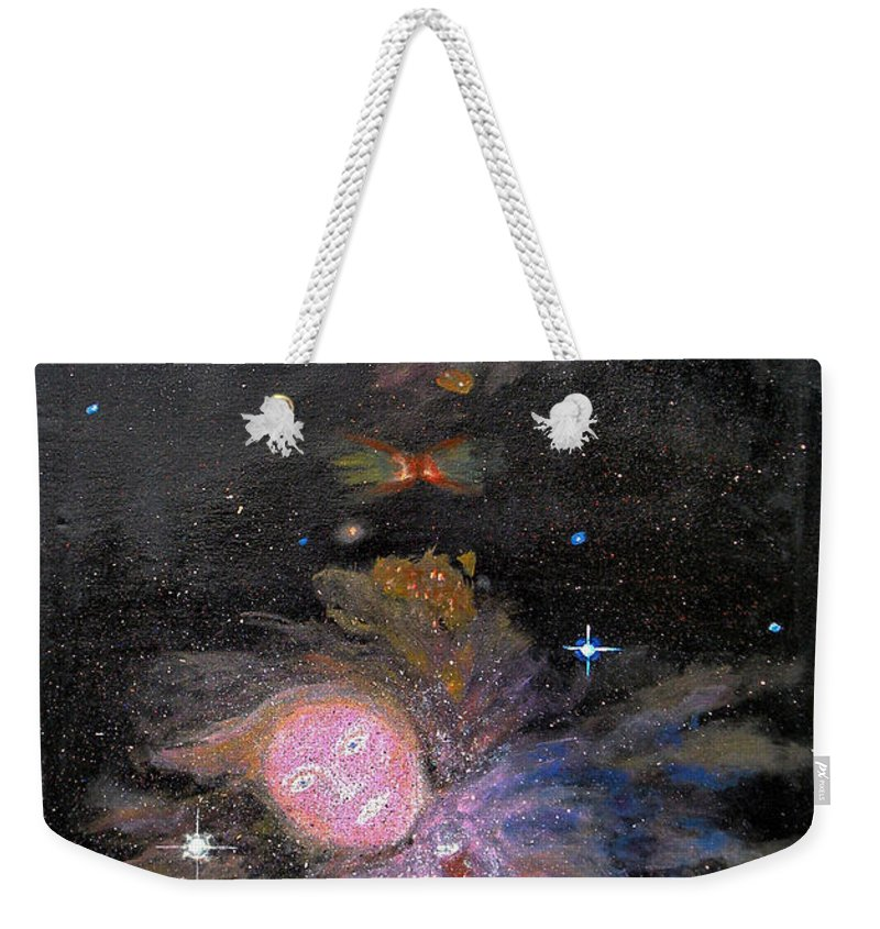 Augusta Stylianou Weekender Tote Bag featuring the painting Aphrodite In Orion's Nebula by Augusta Stylianou