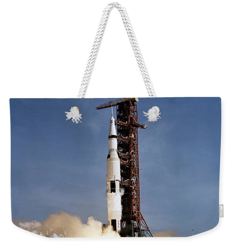 1969 Weekender Tote Bag featuring the photograph Apollo 11 Space Vehicle Taking by Stocktrek Images