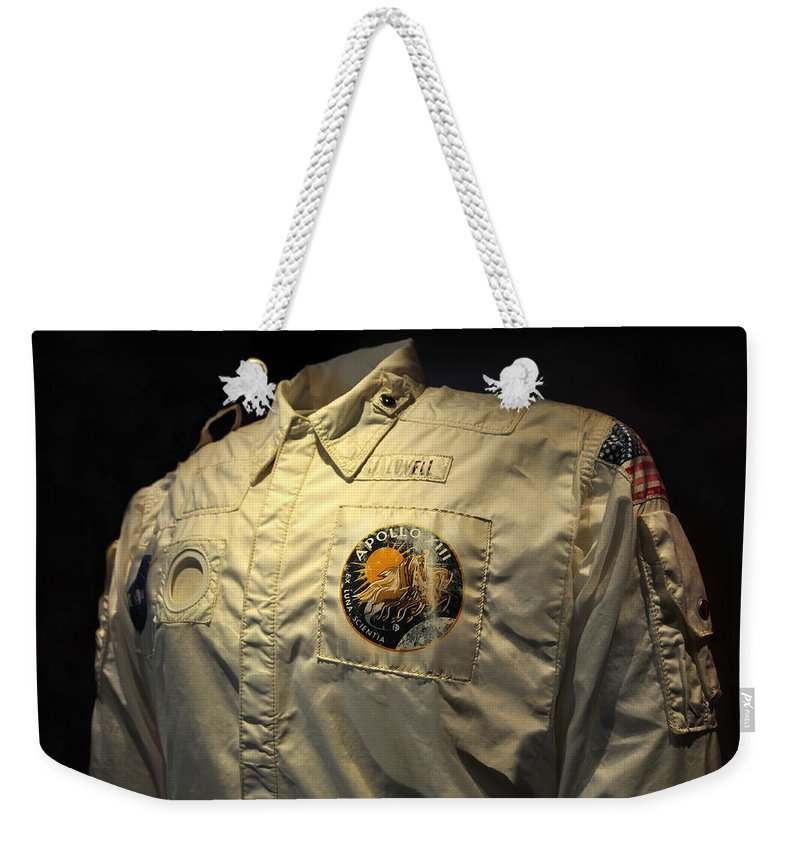 Fine Art Photography Weekender Tote Bag featuring the photograph Apollo Space Suit by David Lee Thompson