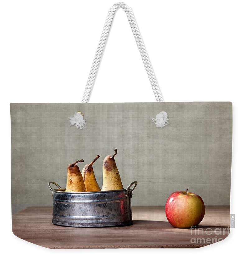 Pear Weekender Tote Bag featuring the photograph Apple And Pears 01 by Nailia Schwarz