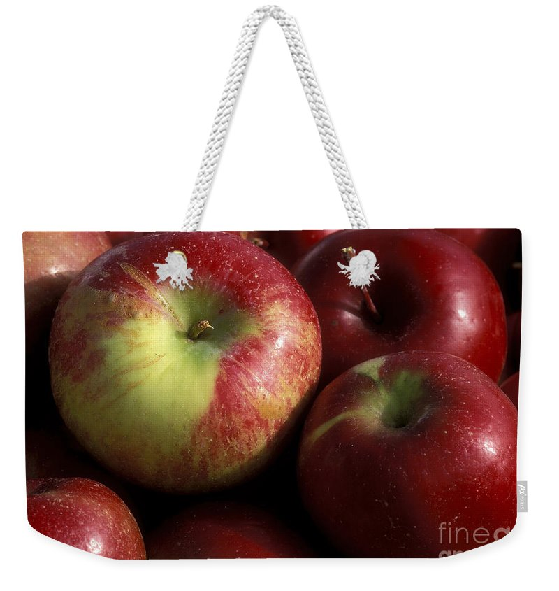 Macro Weekender Tote Bag featuring the photograph Apples For Sale by Sandra Bronstein