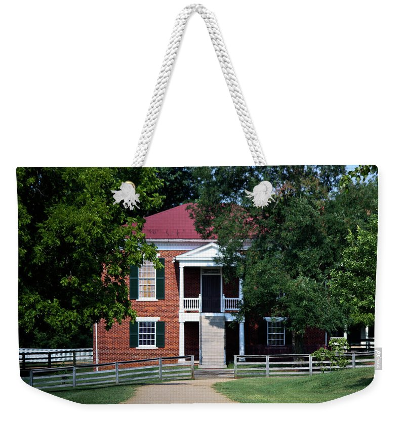 Appomattox Weekender Tote Bag featuring the photograph Appomattox County Court House 1 by Teresa Mucha