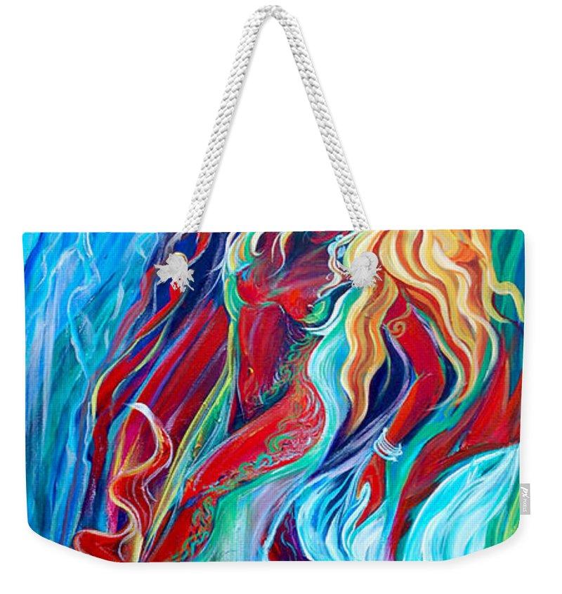 Mermaid Weekender Tote Bag featuring the painting Aqua Rain by Jennifer Christenson