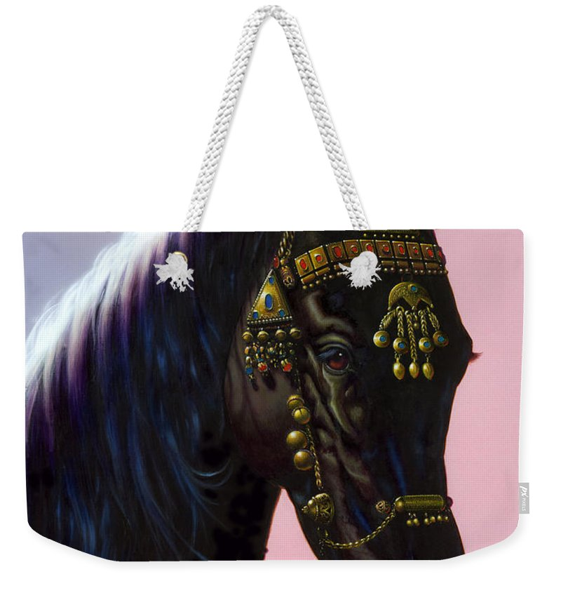 Animal Weekender Tote Bag featuring the photograph Arab Horse by MGL Studio - Chris Hiett