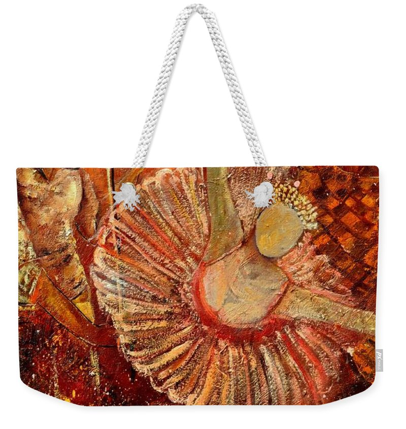 Dance Weekender Tote Bag featuring the painting Arlequino And The Ballet Dancer by Pol Ledent