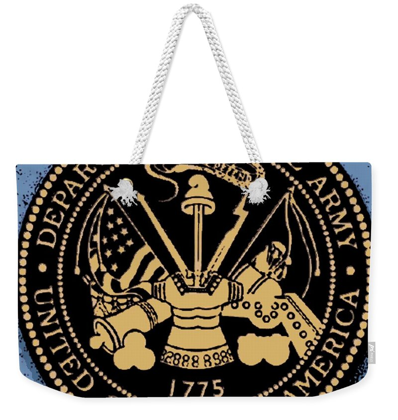 Department Weekender Tote Bag featuring the digital art Army Medallion by George Pedro