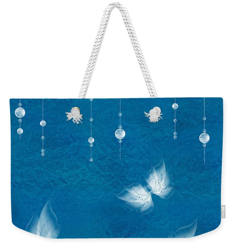 Butterfly Weekender Tote Bag featuring the digital art Art En Blanc - S11dt01 by Variance Collections