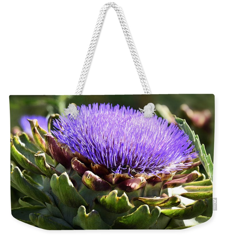 Artichoke Weekender Tote Bag featuring the photograph Artichoke Flower by Saija Lehtonen