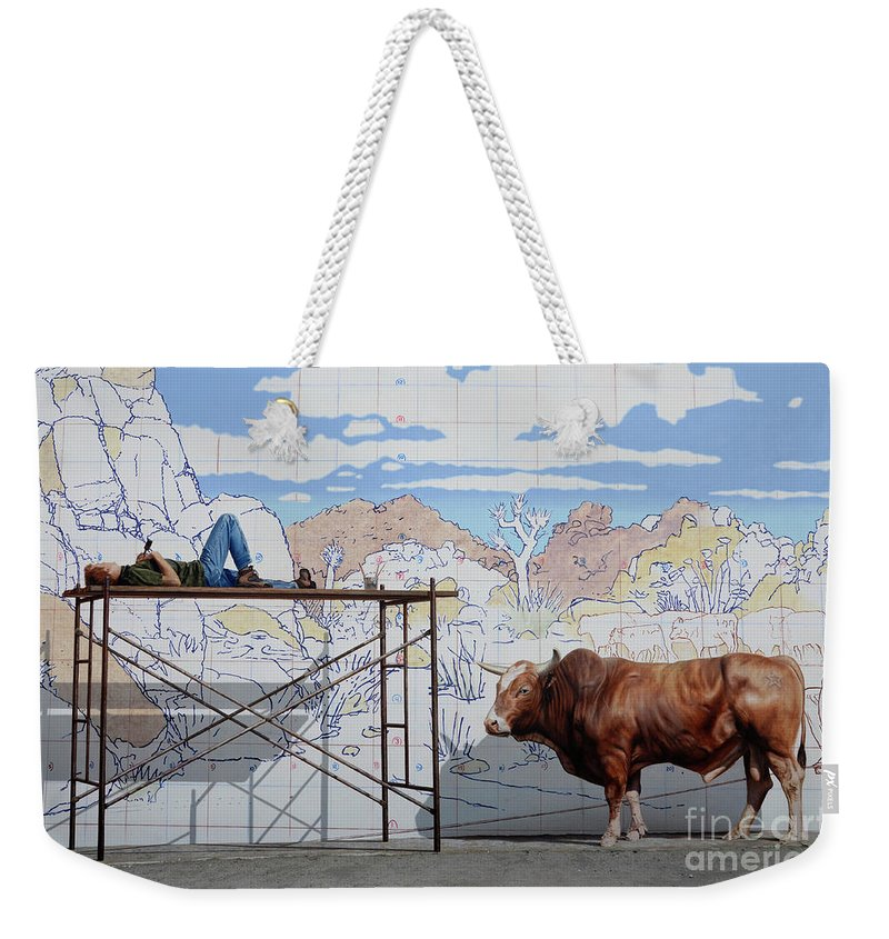Mural Weekender Tote Bag featuring the photograph Artist At Work by Bob Christopher