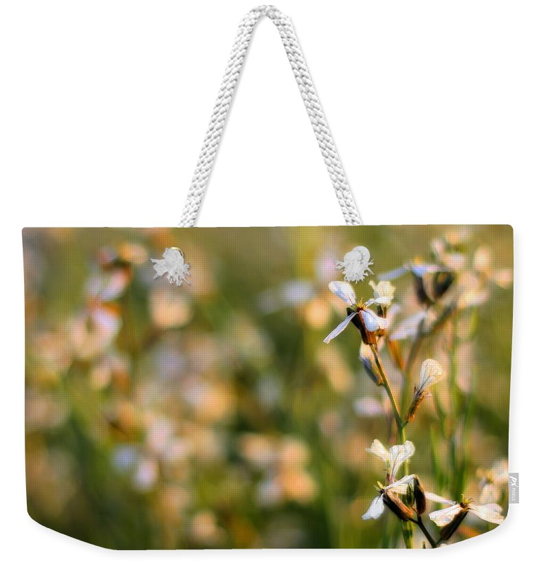 Arugula Weekender Tote Bag featuring the photograph Arugula Flowers by Angela Rath