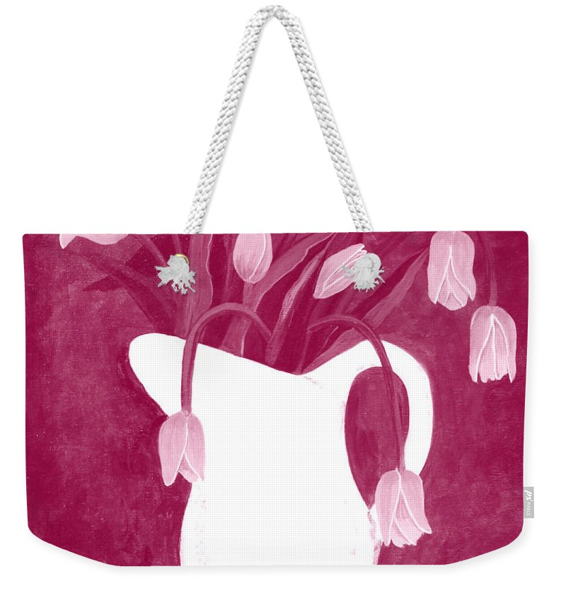 Ashes Of Roses Weekender Tote Bag featuring the painting Ashes Of Roses Tulips by Barbara Griffin